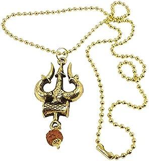 Utkarsh Unisex Metal Fancy & Stylish Brown Beads Rudraksha Solid Golden Plated Mahadev Bolenath Mahakaal Lord Shiva Shanka...