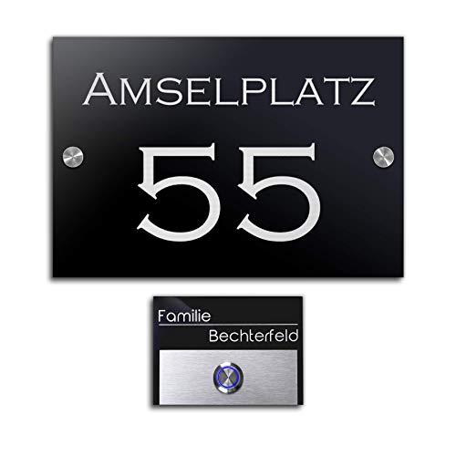 Luxe belplaat & huisnummer set voor de deur met gravure deurbel