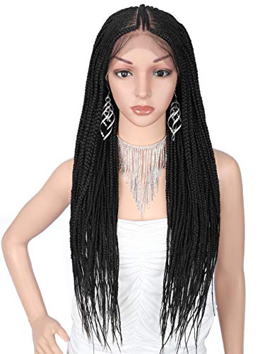 """Kalyss 13x7"""" Hand Braided Lace Front Fulani Cornrow Box Braid Wigs with Baby Hair for Women Lightweight Synthetic Lace Frontal Twist Braided Wigs 29 Inches (Black)"""