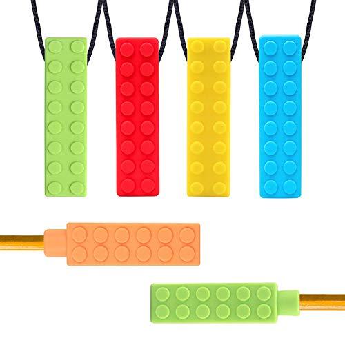 Collier à Mâcher, Yuccer 4 Pack Silicone Collier de Dentition et 2 Pack Embouts de Crayon pour Enfant Collier pour Les Dents de Bébé (Bleu + Jaune + Vert + Rouge + Orange)