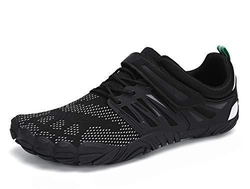 SAGUARO Zapatos Descalzos para Correr Hombre Mujer Zapatilla Minimalista Zapatillas de Trail Running Negro 39 EU