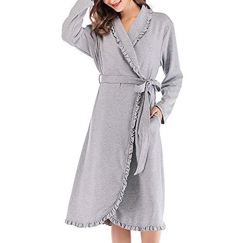 KDOAE Conjunto de Pijama de Mujer Túnicas Estilo Largo Bata Bata de baño con Oblicua con Cuello en V for Todas Las Estaciones para Todas Las Estaciones (Color : Gray, Tamaño : M)
