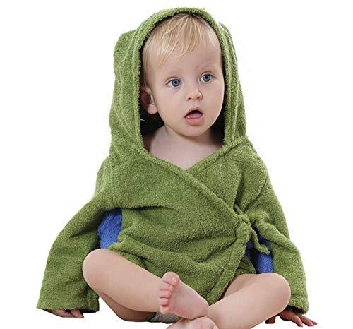 Elonglin Unisex Baby Bademäntel Kapuze Badetuch mit Gürtel Cartoon Tier Ohren Mittellang Baumwolle Winter Herbst Armeegrün one Size für 0-12 Monate
