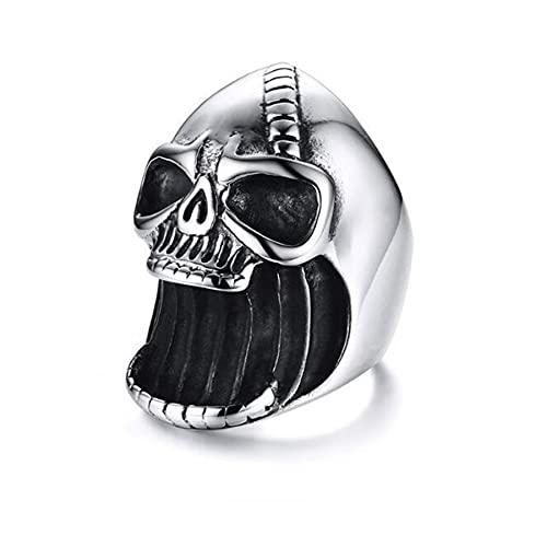 Sacacorchos de acero inoxidable Punk Rock, anillo de calavera Vintage para hombre, mejor barra, anillos de calavera góticos, regalo para él, 10 de plata