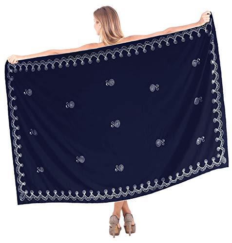 LA LEELA Damen Badeslip Sarong Strandkleid Stickerei Schal Pareo Bademode Cover Up Sommer Wickelrock Navy Blau_L507 Einheitsgröße