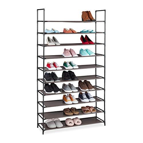 Relaxdays Zapatero XXL, 10 Niveles, para 50 Pares de Zapatos, plástico, 176,5 x 99 x 29,5 cm, Color marrón