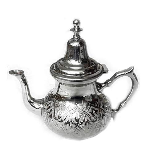 Marokkanische Teekanne Ziseliert | Silber | H:19cm | Handgefertigte Orientalische Marokkanische Teetkanne oder als Kaffeekanne für Kaffee