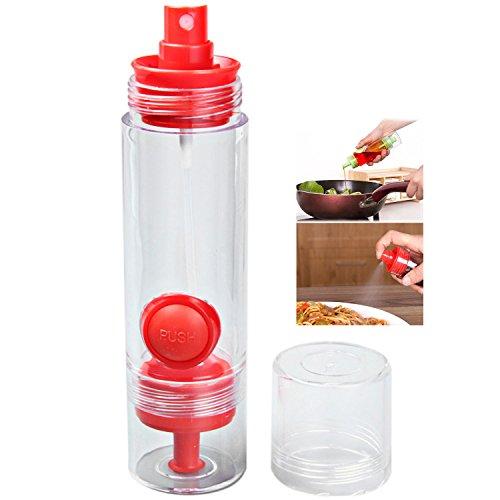 Oil Sprayers 2 in 1 Kitchen BBQ Condiment Oil Soy Sauce Vinegar Spray Bottle Cruet Dispenser (Red)