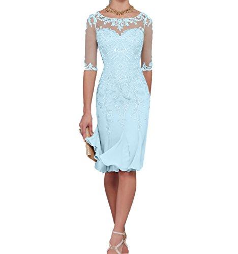 Charmant Damen Hell Blau Spitze Abendkleider Etuikleider Brautmutterkleider Trumpet Chiffon Rock-40 Hell Blau