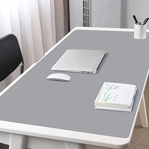 F-LFJBK Verlängert Schreibtischunterlage Beschützer Office Mauspad,PU Leder Wasserdicht Anti-Slip Tischunterlage Löscher Große Schreiben-Matte Für Computer Tastatur-hellgrau 100x50cm(39x20inch)