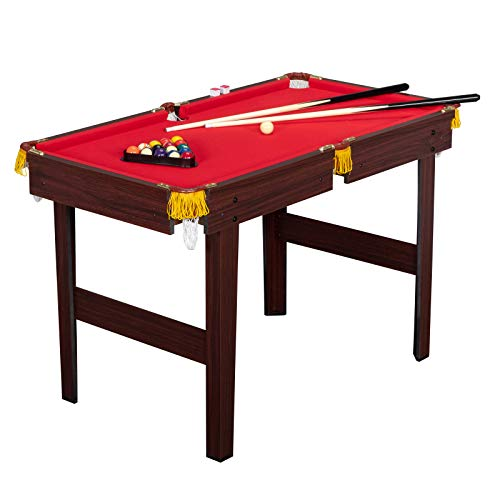 PEXMOR 48 Inches Billiard Table for Boys and Girls, Mini Pool Table with 16 Balls, 2 Cues, Chalk, Brush and Triangle, Indoor Pool Game Table Set, Red