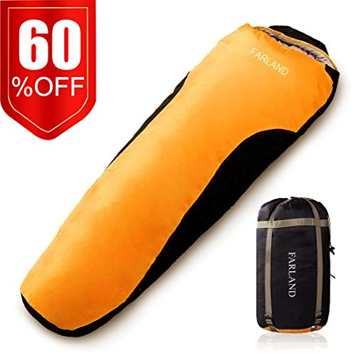 Camping Sleeping Bag Adult For 0 degree to 20 Degrees Fahrenheit 4 Season Envelope Mummy Outdoor Lightweight Portable Waterproof Perfect Traveling,Hiking Activities(Orange & Black / Right Zip, Mummy)