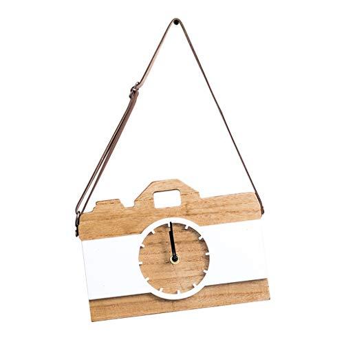 A-ZHP Relojes de Pared Reloj de Pared Sin tictac Operado con batería Creativo Decorativo Sala de Estar Decoración Dormitorio silencioso Cocina Cámara analógica Madera Relojes de Cuarzo Reloj
