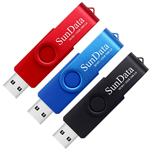 SunData Chiavetta USB 32GB 3 Pezzi PenDrive Girevole USB2.0 Flash Drive Thumb Drive Memoria Stick per Archiviazione Dati con Luce LED (3 colori: Nero Blu Rosso)