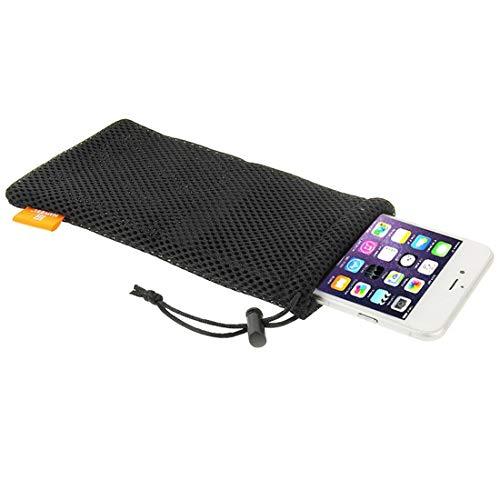 Universal Handytasche Nylon Mesh strapazierfähiges & Robustes Netz 18,5cm x 9cm Beutel mit elastischem Gummizug & Lanyard Kordel Pouch für jedes Smartphone/Handy/iPhone Schutzhülle Schwarz