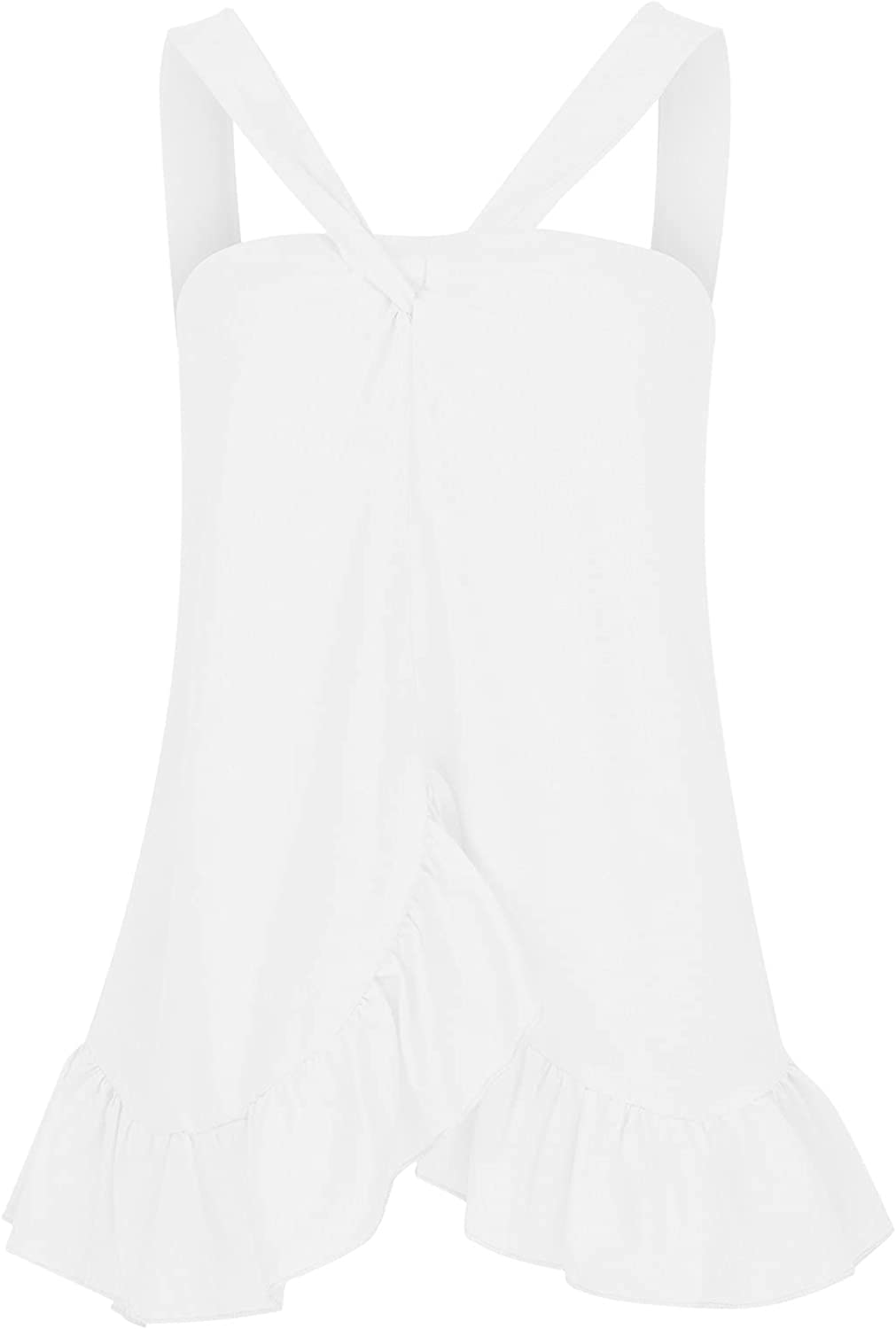 Women's Halter Ruffle Tops Summer Sleeveless Tank Tops Fashion Flowy Blouse Shirt Solid Color Pleated Cami Shirt