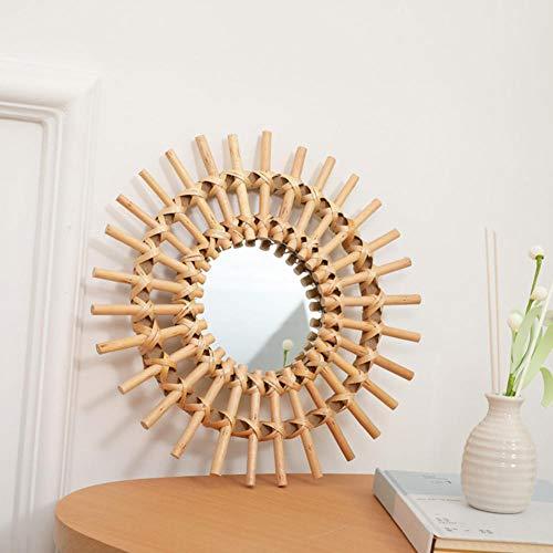 AJIHFD Home Gifts Art Deco Compact Helder Ruimte Opslaan Rotan Dressing Muur Opknoping Ronde Badkamer Woonkamer Spiegel Draagbaar Interieur@Verenigde Staten_B