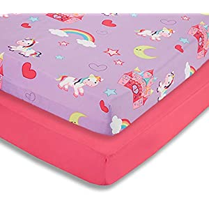 EVERYDAY KIDS 2 Pack Fitted Girls Crib Sheet, 100% Soft Microfiber, Breathable and Hypoallergenic Baby Sheet, Fits Standard Size Crib Mattress 28in x 52in, Nursery Sheet – Unicorns/Hot Pink