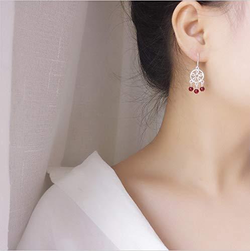 TAOYUN Mujeres Pendientes Plata De Ley 925 Granate Rojo con Flecos Pendientes Joyería Hipoalergénica