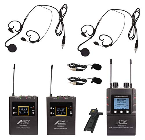 audio 2000s wireless headsets Audio2000'S AWM6601U Mobile Dual Headset Mic/Lapel Mic/Guitar Line Wireless System for Reporter, DSLR Camera, YouTube, Podcast, Video Recording, Vlogging, Interview, Live Sound, Guitar, Teach, Tour