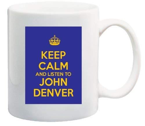Taza De Ceramica Keep Calm And Listen To John Denver Álbum Azul Y Amarillo Cd Bonita Taza De Café Motivacional E Inspiradora Taza De Té Unisex 330Ml Personaliza Cumpleaños Cerámica