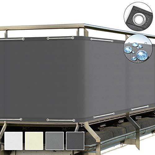 Sol Royal SolVision Balkon Sichtschutz Grau PB2 PES blickdichte Balkonumspannung 90x500 cm – Balkonbespannung mit Ösen und Kordel - in div. Größen & Farben