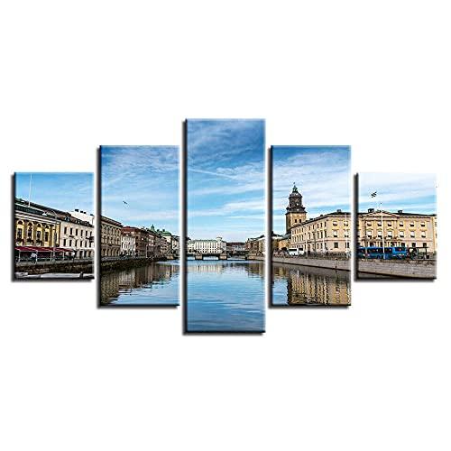 wangdazhuang Nordisk stil modern målning väggkonst 5 panel stad Göteborg flod bild hem dekoration poster ram vardagsrum kanvas modul bild – 150 x 80 cm
