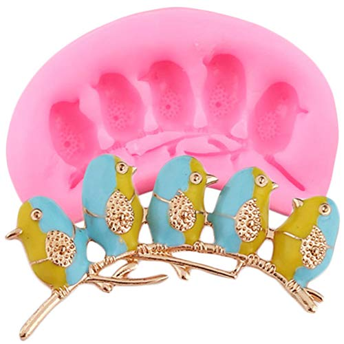 Ainkou 3D Craft Birds Silicone Molds DIY Tree Branches Fondant Cake Decorating Tools Resin Clay Candy Chocolate Moulds