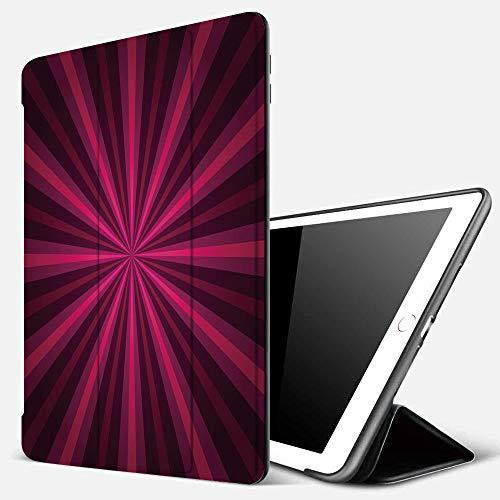Funda iPad 10.2 Inch 2018/2019,Hot Pink, Diseño Abstracto Starburst Líneas radiales Vigas de Colores Vibrantes Futurista Decorativo, Rosa Fucsia P,Cubierta Trasera Delgada Smart Auto Wake/Sleep