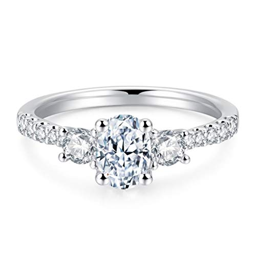 Petite Micropavé Trio 3 Stone 1.5ct Oval Cut Cubic Zirconia CZ Solitaire Engagement Rings Simulated Diamond Rhodium Plated Sterling Silver Rings |Ideal Cut, D-E Color, FL Clarity 5