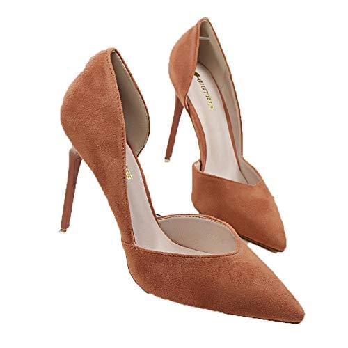 Primavera Verano Mujer Bombas Boca Baja Tacones Altos Huecos 10cm Elegante Dama Fiesta Boda Oficina Zapatos de tacón de Aguja