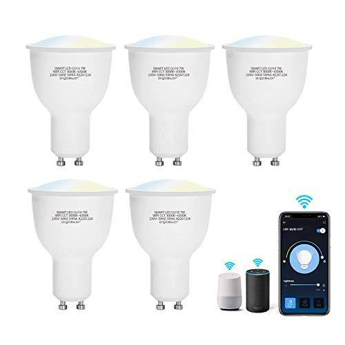 Aigostar Bombilla LED inteligente WiFi GU10, 7W. Regulables de luz cálida a blanca (3000 a 6500 K). Bombilla inteligente compatible con Alexa y Google Home. Equivalente a 39W incandescente.Pack 5 uds
