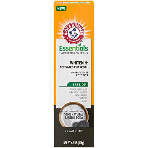Arm & Hammer Essentials FluorideFree Toothpaste Whiten + Activated Charcoal4 Pack of 4.3oz Tubes Clean 100 Natural Baking Soda, Mint, 17.2 Ounce