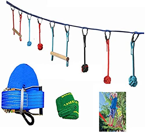 ShopSquare64 50ft Slackline Kits en Plein air Extreme Sport Balance Trainer Corde Enfants Swinging Obstacle Course Set