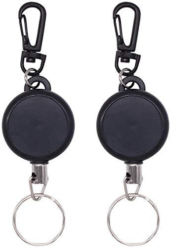 Aokebeey Schlüssel Ausweis JoJo 2 Stück, Schlüsselband Ausziehbar Ausweis Schlüsselanhänger mit Extra Starker Feder und Reißfester Schnur