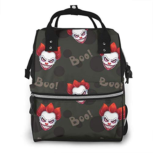 Horrible Evil Clown Face Diaper Backpack Travel Baby Nappy B