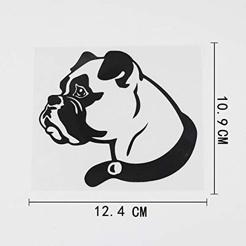 FAFPAY Sticker de Carro 12.4cmx10.9cm Divertido Boxer Animal Perro decoración calcomanía Vinilo Etiqueta engomada del Coche Negro/Plata 8a-0616Negro