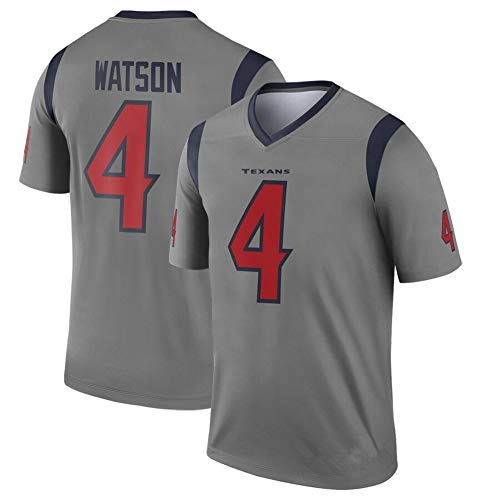 Deshaun Watson Houston Texans 4# Maillot de Rugby Hommes, Hip-Hop Daily Life Breatha High School Student American Football Jersey-Darkgray-L(180~185)