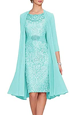 Uther Women's A-Line Lace Mother Of The Bride Dress With Jacket 2 Aqua