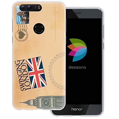 dessana postzegels transparante beschermhoes mobiele telefoon case cover tas voor Huawei, Huawei Honor 8, Ansichtkaart Londen