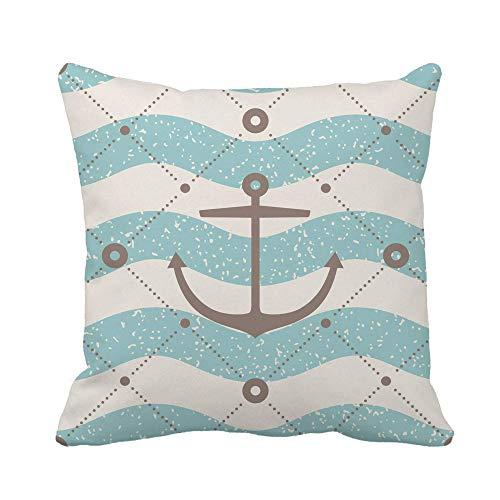 N\A Funda de Almohada Patrón de Onda y Ancla de Oro Azul Marino Pillo de Barco de Playa Azul marinoFunda de cojín Cuadrada Decorativa para el hogar wcase