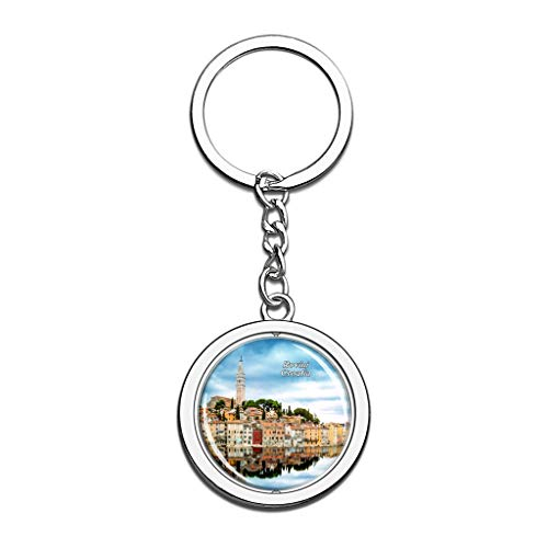 Hqiyaols Keychain Kroatien Altstadt von Rovinj Kristall Drehen Rostfreier Stahl Schlüsselbund Reisen Stadt Andenken Schlüsselring