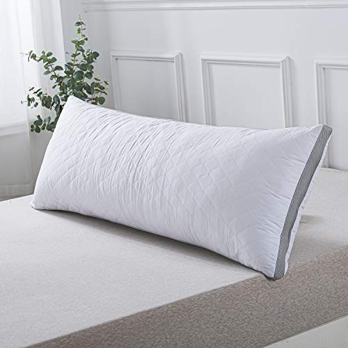 WhatsBedding Fluffy Body Pillow - Long Side Pillows for Adult - Large Down Alternative Bed Pillow with Soft Filling (20 x 54 inch) - White