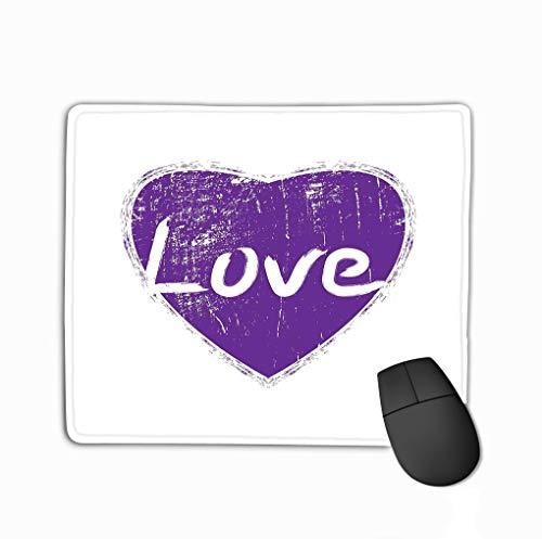 Rectangle Non-Slip Rubber muismat 11.81 X 9.84 inch Violet Heart Handmade Lettering Grunge Fashion Design Print Summer Heart Violet Heart Handmade