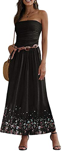 Onsoyours Damen Maxikleid Langes Kleider Bandeau Kleid Böhmen Sommerkleid Trägerloses Strandkleid Abendkleid C Schwarz M