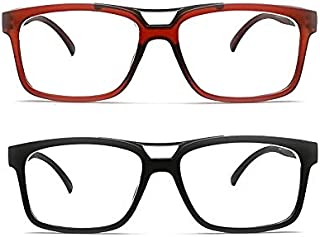 2 Pair Nearsighted Glasses for Distance Shiny Gun Metal Bar Myopia Glasses for Men and Women  These are NOT Reading Glasses