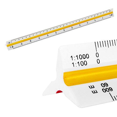 Escala Regla triangular Triángulo 1: 25/250/2500, 1: 50/500, 1: 100/1000, 1: 150/1500, 1: 200/2000, 1: 125/1250, escala triangular de 30 cm de largo para arquitectos ingeniero arquitecto de paisaje