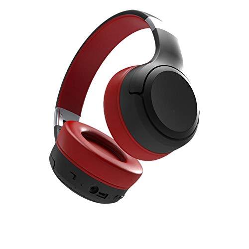 Auriculares Bluetooth Plegables montados en la Cabeza Auriculares Suaves y cómodos Auriculares en Espera superlargos-Rojo