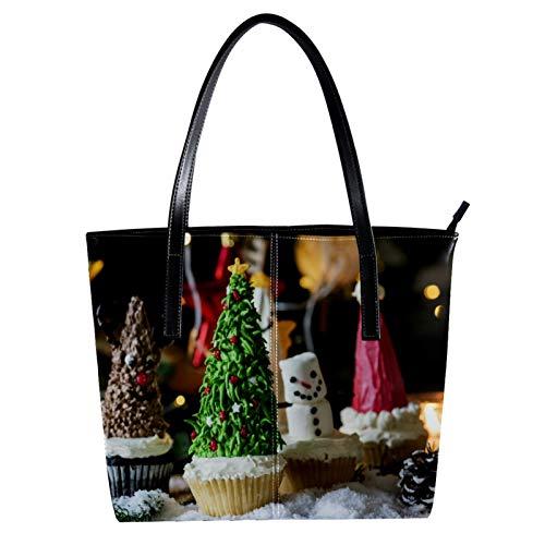 LORVIES Cupcakes de Navidad Bolso bandolera de piel sintética y bolso de...