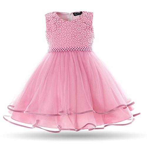 CIELARKO Baby Mädchen Kleid Blumen Spitze Tüll Taufkleid Kinder Hochzeits Festlich Kleider 19-24 Monate Violett